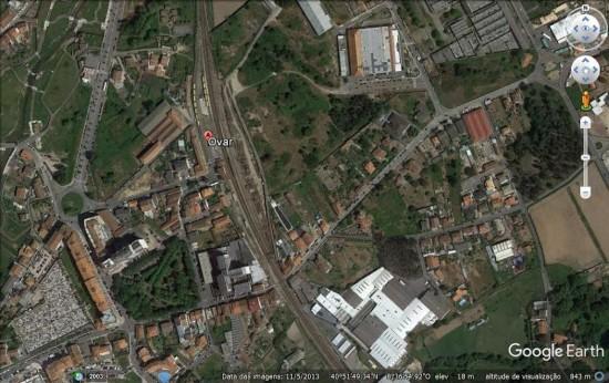 """Estação de Ovar (foto satélite): e a """"barriga"""""""