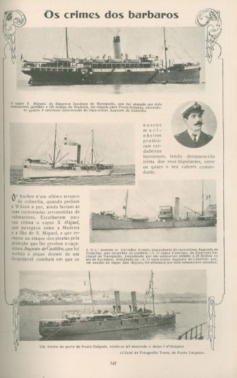 """""""Ilustração Portuguesa"""" de 28 de Outubro de 1918, alusiva ao afundamento do """"Augusto de Castilho"""""""