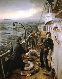 """Combate do """"Augusto Castilho"""". Quadro de Elisa Felismino, exposto no Museu da Marinha"""