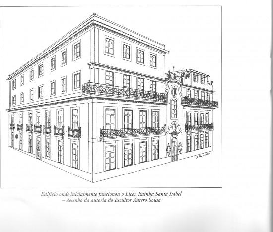 Desenho do edifício do Liceu Rainha Santa Isabel